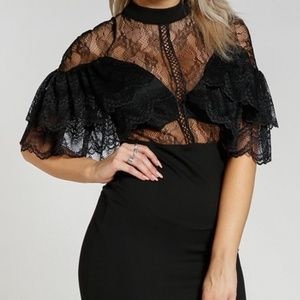 LBD Lace Ruffled Sexy Party Date Night Dress